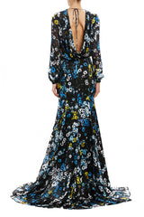 long sleeve floral gown blue and black