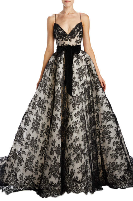 Black Lace Big Ball Gown