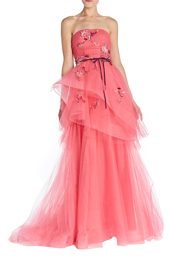 Strapless Tiered Gown - moniquelhuillier