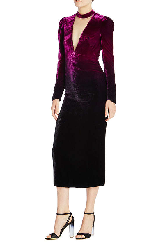 Velvet Column Midi Dress-FINAL SALE