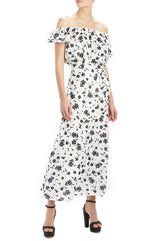 ML Monique Lhuillier black and white midi skirt