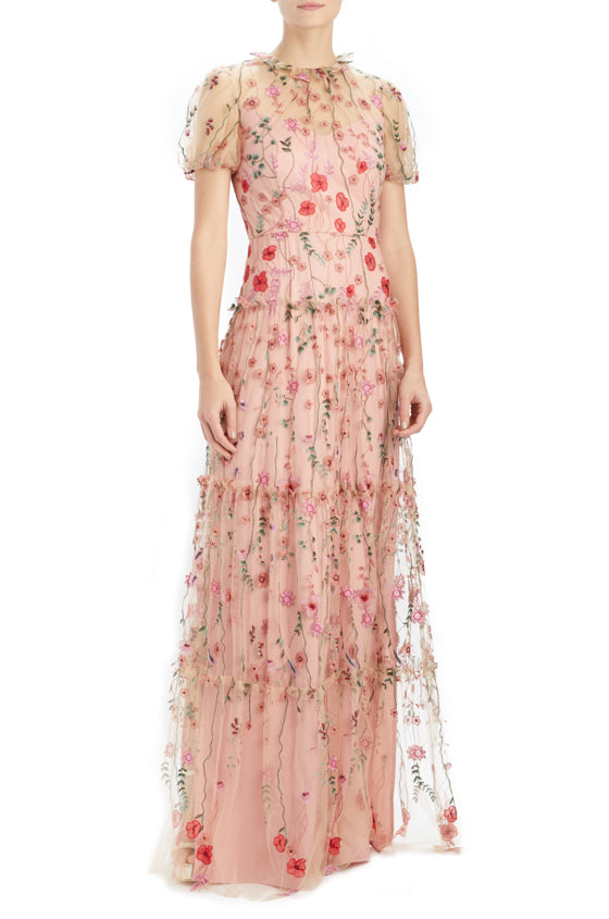 ML Monique Lhuillier Peony Embroidered Gown
