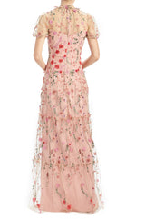 Floral Embroidered Mesh Gown MLML