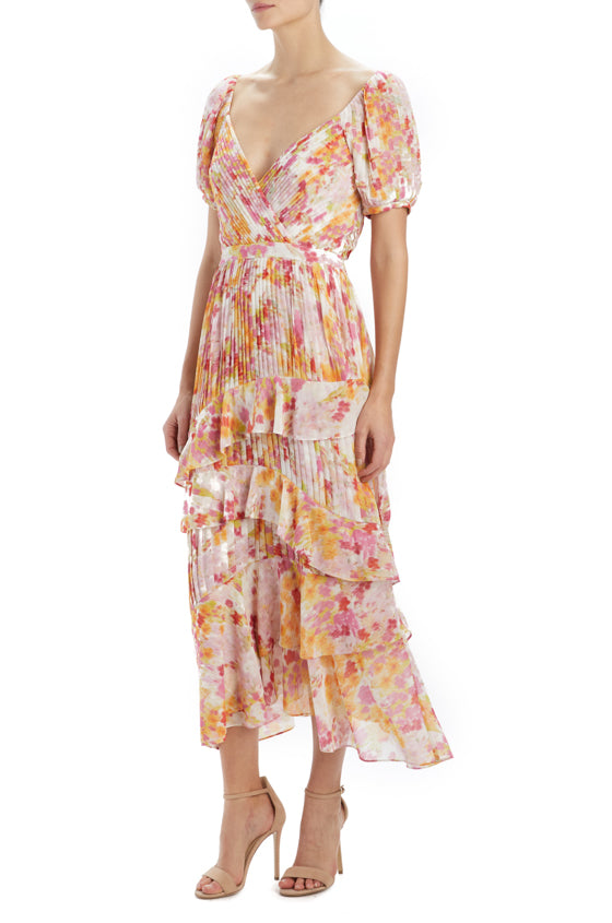 Spring 2020 printed midi dress with pleating and ruffles