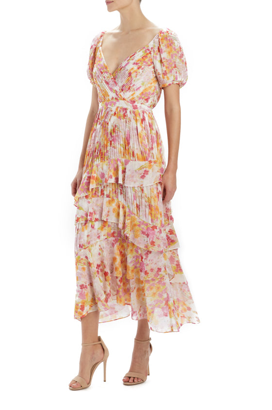 MLML short sleeve printed midi dress with ruffles
