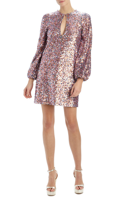 MLML long sleeve sequin shift dress