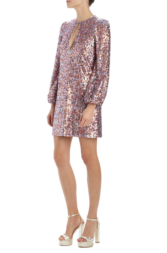 SP20 long sleeve sequined dress with keyhole front