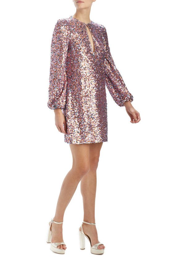 Spring 2020 purple sequin shift dress with long sleeves
