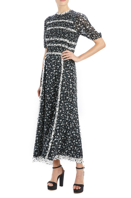 ML Monique Lhuillier black floral midi skirt