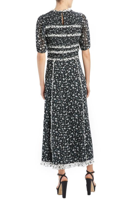 Jet black floral midi skirt with trim detail