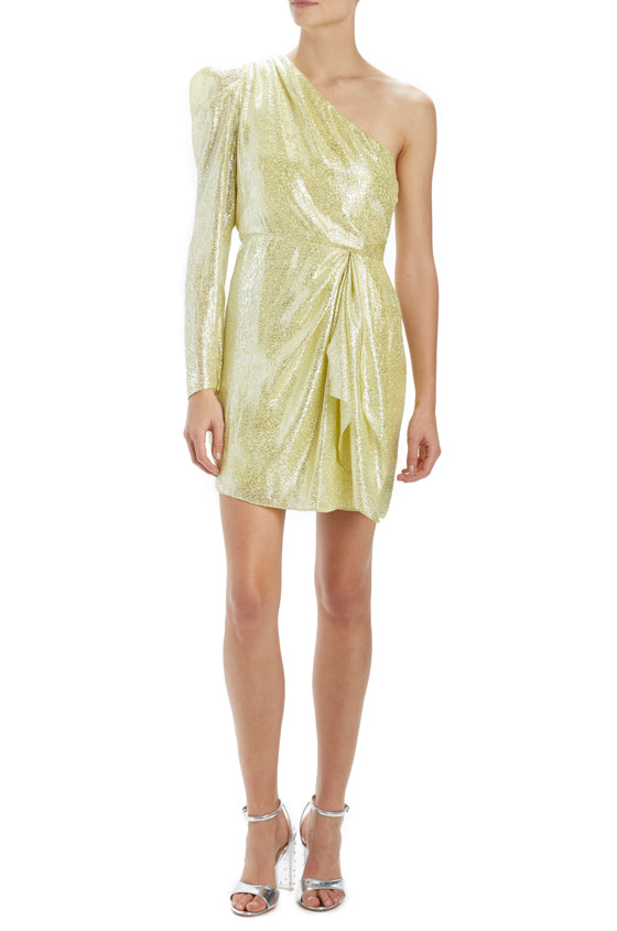 One shoulder metallic dress with draped ruffle front