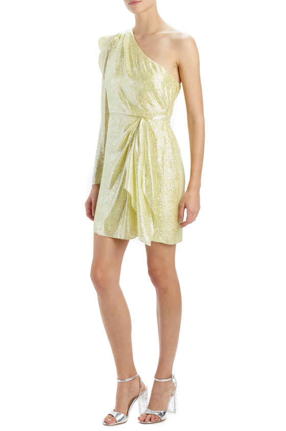 Spring 2020 metallic dress with draped ruffle front citron
