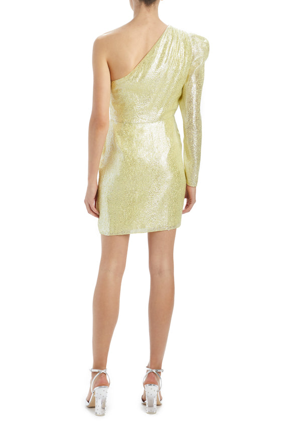 MLML One shoulder metallic dress with draped ruffle front