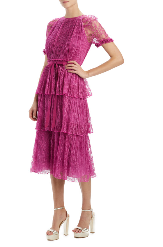 Spring 20 berry lace midi dress with short sleeves
