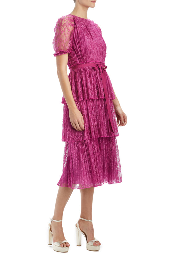 MLML short sleeve lace dress with bow and pleats
