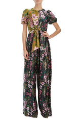 Jumpsuit with Tie and Pleated Pant