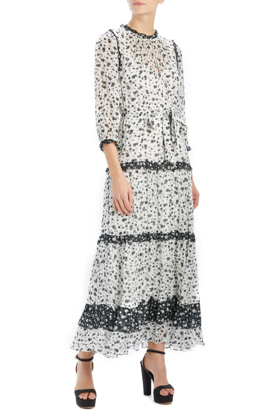 floral printed midi dress with 3/4 sleeve