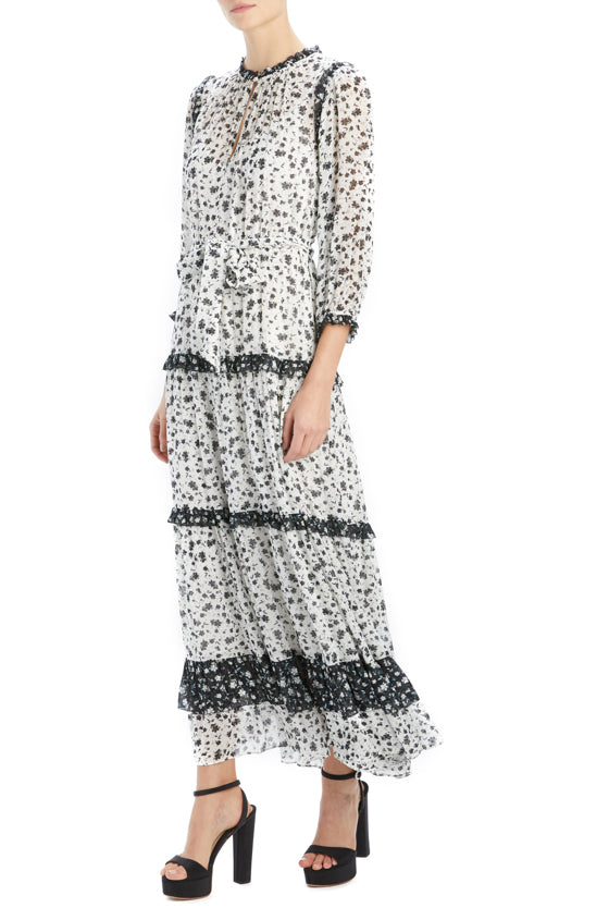 ML Monique Lhuillier printed prairie dress midi length