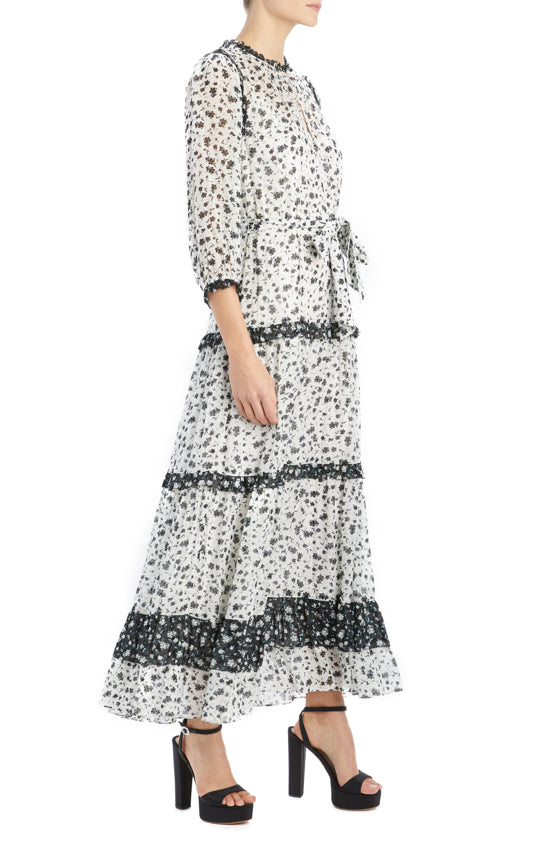 MLML 3/4 sleeve floral printed midi dress white multi