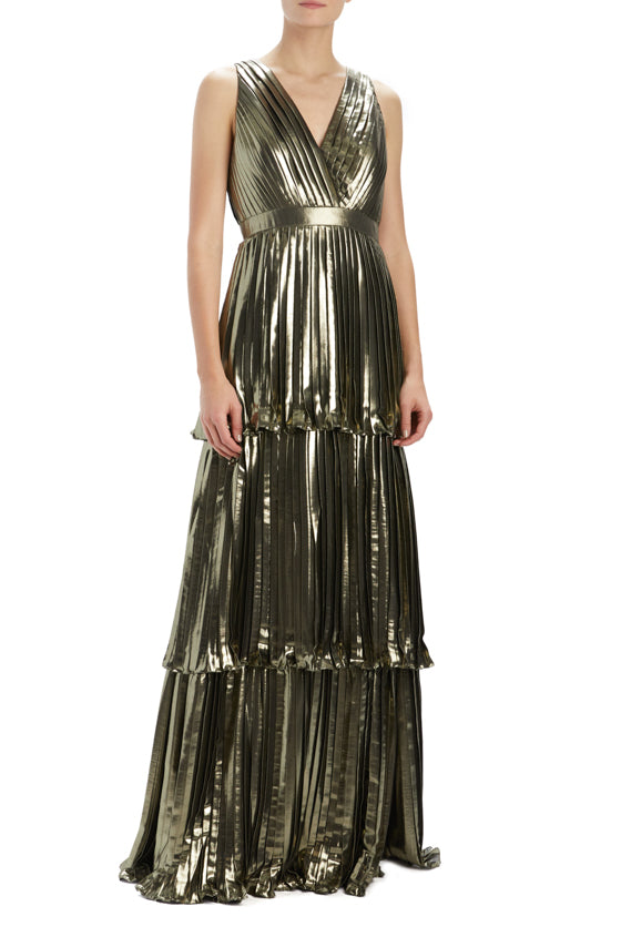 MLML gold pleated gown