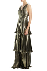 Spring 20 gold pleated  v-neck gown