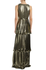 MLML metallic gold gown with pleats