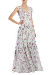 ML Monique Lhuillier Floral V-neck Gown