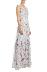 MLML sleeveless floral printed gown with pleated trim