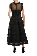 Monique Lhuillier black ruffle midi dress