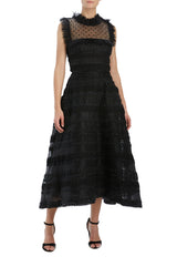 Noir ruffle bib midi dress