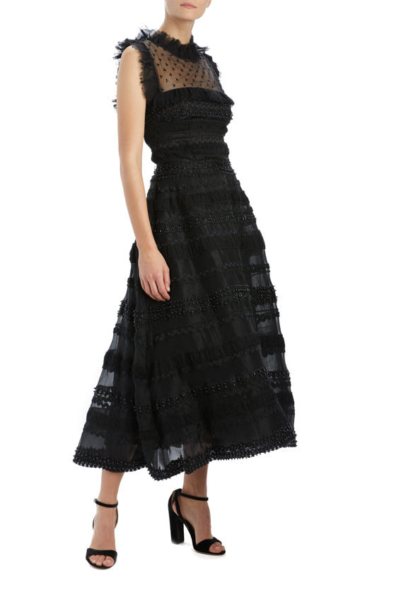Spring 20 noir embroidered organza cocktail dress
