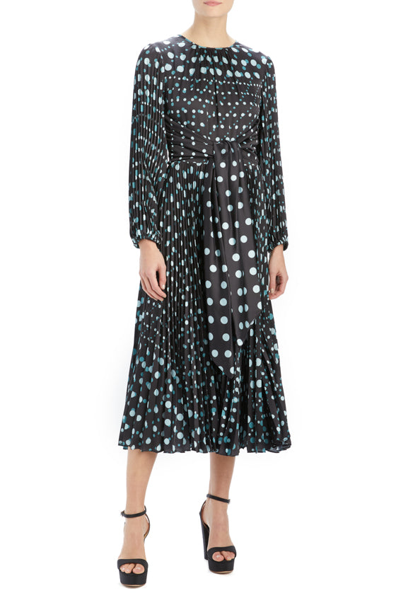 ML Monique Lhuillier polka dot midi dress with pleats