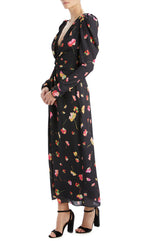 Floral long sleeve black dress with statement shoulders