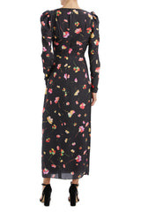 Monique Lhuillier black floral long sleeve dress