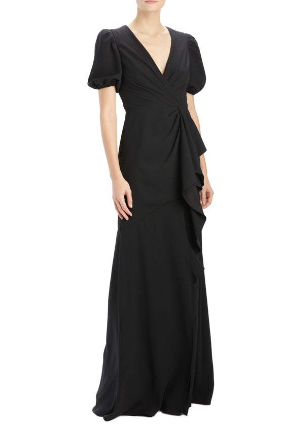 Short sleeve crepe gown with ruffle front detail