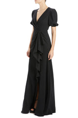 ML Monique Lhuillier v-neck evening gown black