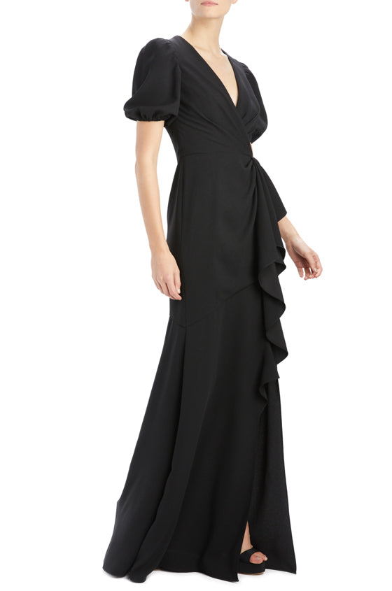 Spring 2020 Black v-neck evening gown with ruffles