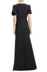 MLML Short sleeve crepe gown with front slit