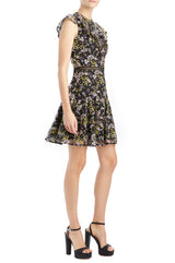 MLML floral cocktail dress with trim detail