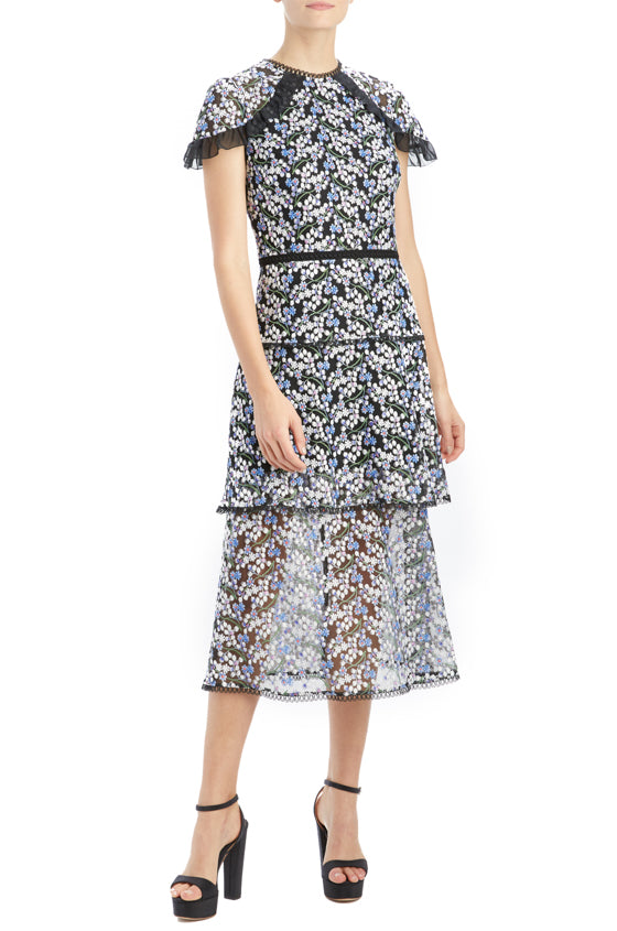 mlml french blue embroidered midi dress