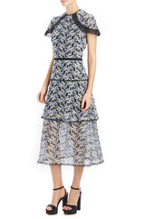ML Monique Lhuillier embroidered mesh midi dress