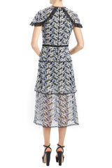 MLML Sp20 mesh midi dress with trim details