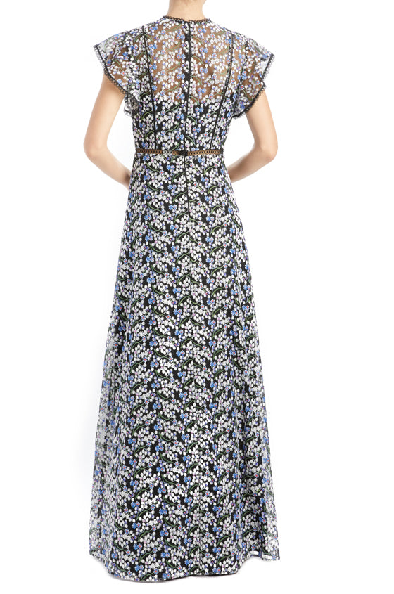 Spring 2020 Embroidered gown blue