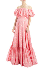 MLML pink polka dot off the shoulder gown