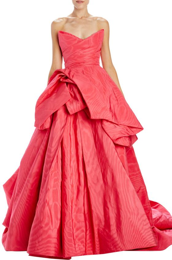 strapless peplum ball gown with train