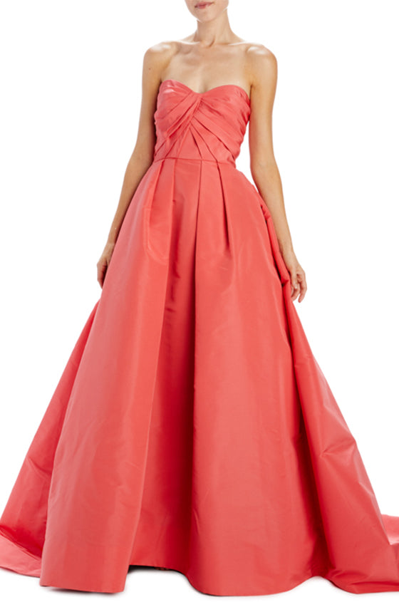 Strapless gown with draped bodice