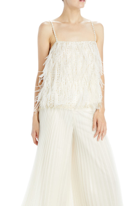 Ivory feather embroidered lace camisole Spring 2020