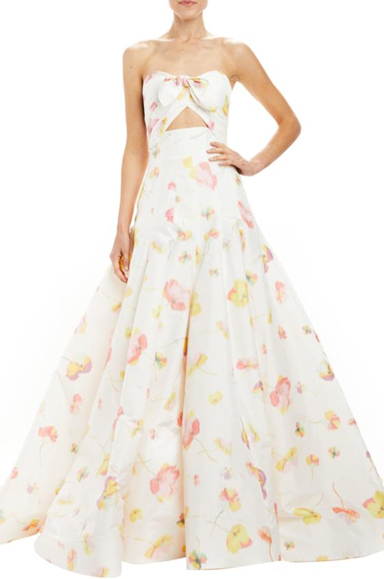 floating floral high waisted ball skirt