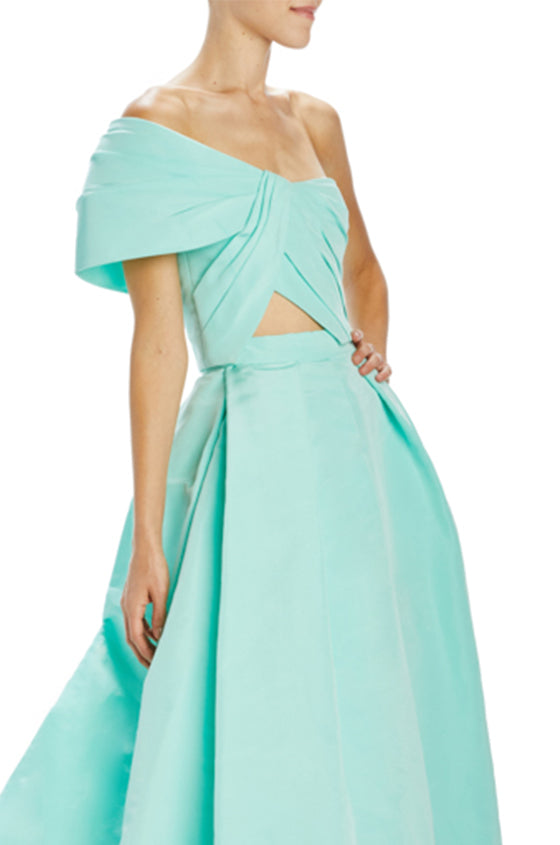 mint faille single sleeve draped bandeau