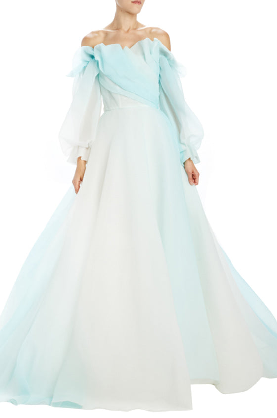 Ombre Mint Off the Shoulder Ball Gown